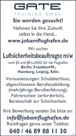 Stellenbezeichnung: Luftsicherheitsbeauftragte m/w  Arbeitsort: 20097 Hamburg Hamburg, Deutschland  Weitere Informationen unter: http://stellencompass.de/anzeige/?id=139470