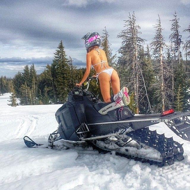 Snowmobile in a bikini