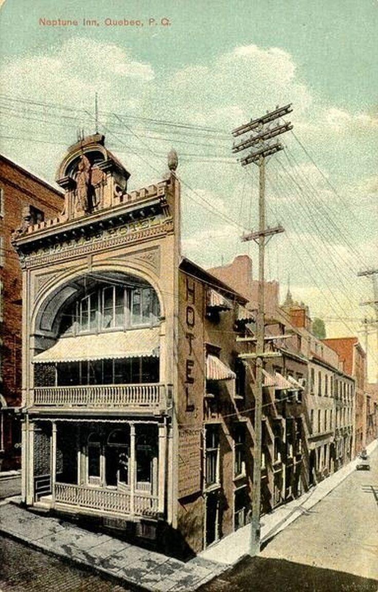 Vue de l'hôtel Neptune Inn quelque temps après les travaux de reconversion des bureaux du Morning Chronicle en un lieu d'hébergement. (Ville de Québec, quartier Vieux-Québec basse-ville - [Vers 1900 -vers 1965], BAnQ, Collection Magella Bureau, P547,S1,SS1,SSS1,D1,P3422R)