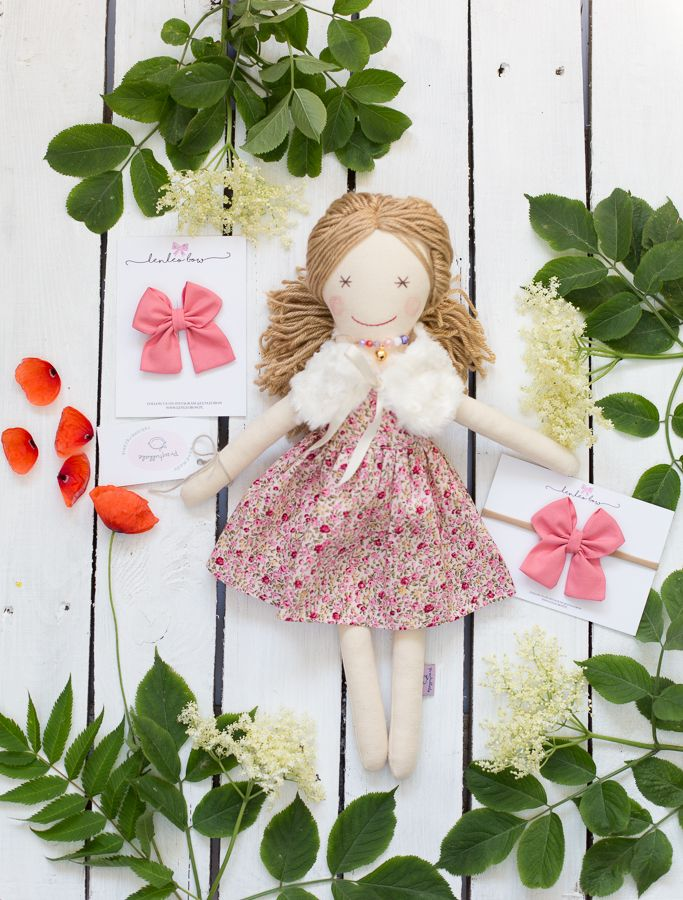 Available in our shop. Handmade doll, ooak doll, rag doll, fabric doll, floral dress, fur coat, embroidery face, 18 inches doll, rag dolls, babygirl, hair accessories, only girls, girls stuff