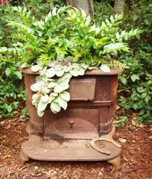 Old Vintage stove made into a planter!