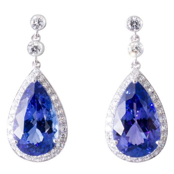 Tanzanite & Diamond Drop Earrings. Shop December's birthstone online now at www.rutherford.com.au