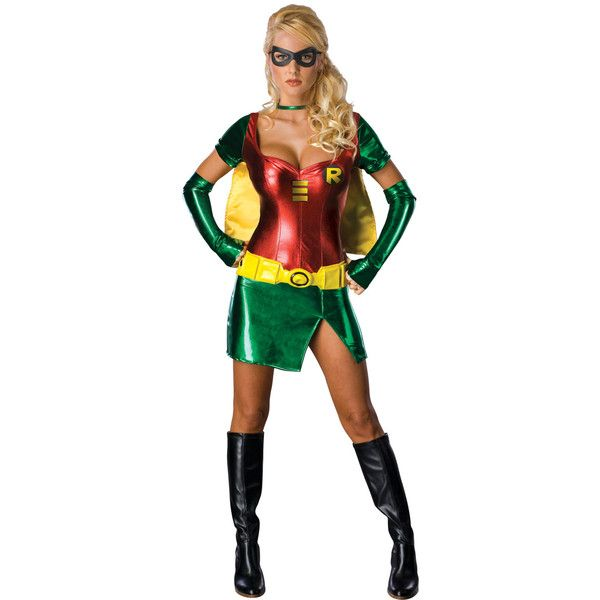 Batman Sexy Robin Costume Adult ($14) ❤ liked on Polyvore featuring costumes, outfits, adult costume, sexy batman costume, sexy adult halloween costumes, batman costume and sexy halloween costumes