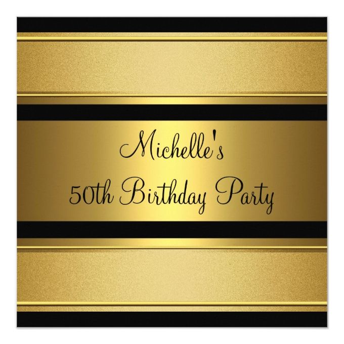 1307 best 50th birthday invitations images on pinterest elegant black gold metal 50th birthday party invitation filmwisefo