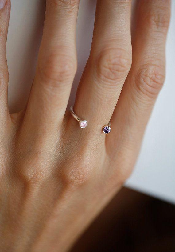 Dual Birthstone Ring, Horseshoe Ring, Silver Birthstone Ring