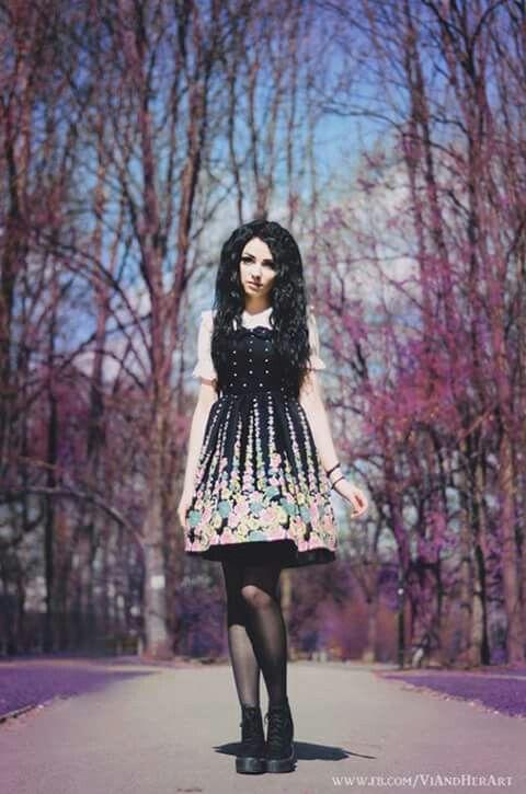 #black #long #hair #dress #goth #fashion #gothic #style #black #tights #inspirating #photo
