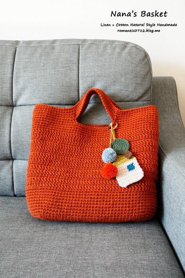 손뜨개 가방 데일리토트백 : 브릭 컬러 : 네이버 블로그