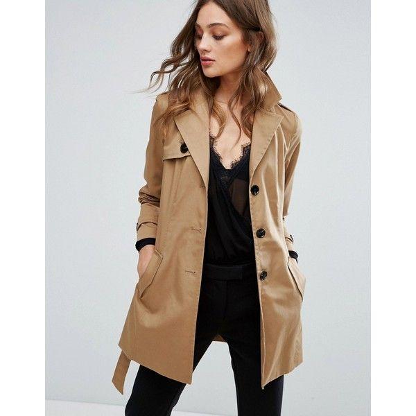 Vero Moda Trench Coat (£52) ❤ liked on Polyvore featuring outerwear, coats, beige, vero moda coat, beige trench coat, lightweight coat, lightweight trench coat and beige coat