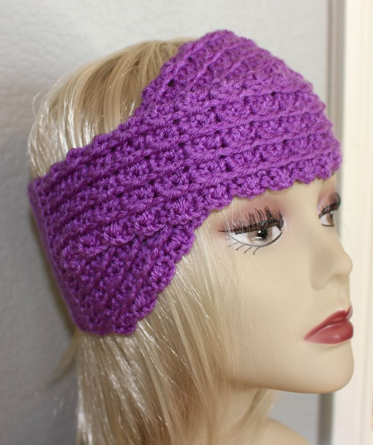 Purple crossover headband, Purple earwarmer, Turban style head wrap, Crochet ear warmer, Braided headwarmer, Handmade gift, Winter accessory   – Caterina Collections