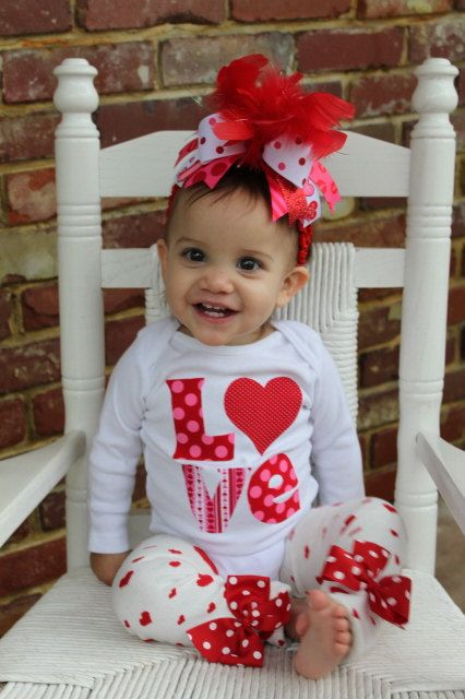 Baby Girl Valentine Outfit Set My Little Valentine Bow Leg