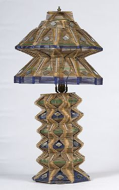 lamps Made with Popsicle Sticks | Stick Sculptures http://www.cowanauctions.com/auctions/item.aspx ...