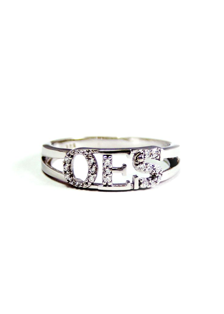 Order of the Eastern Star OES Sterling Silver Ring with Simulated Diamonds