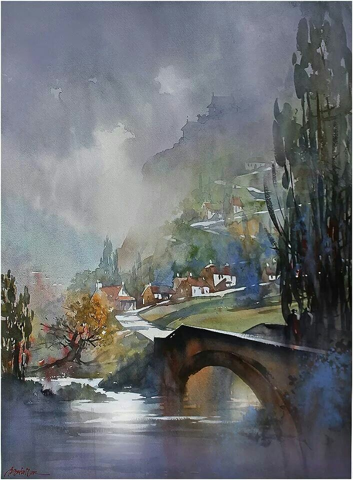 Watercolor painting hill side village France mountain by Thomas Schaller