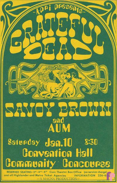 Classic Poster - Grateful Dead at Community Concourse, San Diego 1/10/70 by Dennis Frig