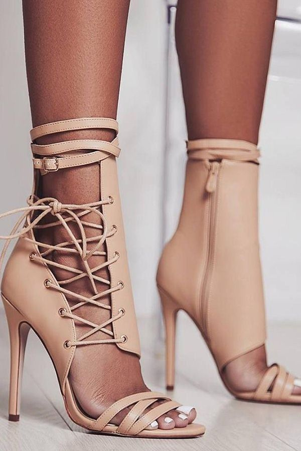 5dd07254f Apricot Cage Lace Up Zipper Side Strap Stiletto Heel Sandals