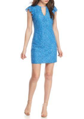 Charles Henry Women's Ruffle Sleeve Lace Sheath Dress - Blue Regatta - Xs