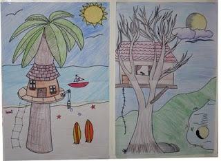 kids draw a treehouse