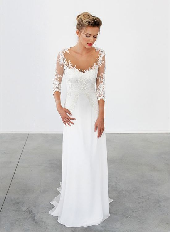 The wedding day is the most romantic day of your life, so why not make your wedding dress extra special? Turn your wedding dress from traditional to romantic by adding full or three-quarter length illusion lace sleeves.