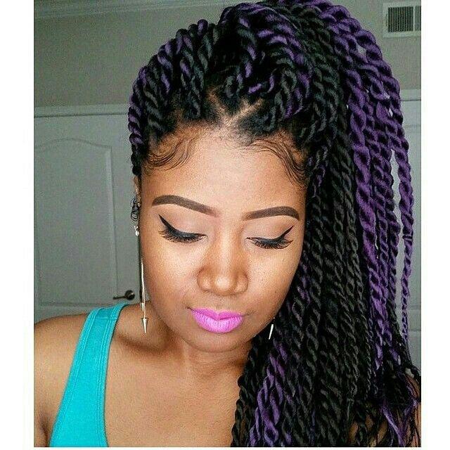 Havana twists- like this silky look of hair. Hint of purple. http://www.shorthaircutsforblackwomen.com/african-hair-braiding/