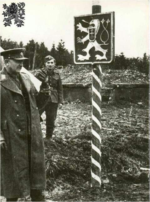 General Ludvik Svoboda on the border of the Czechoslovak