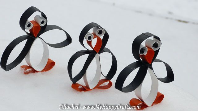 christmas crafts with toilet paper rolls | Penguin craft for a winter recycling craft made of toilet paper rolls