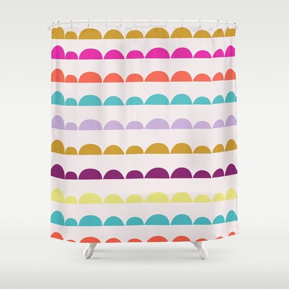 + Half Moon shower curtain. Trendy, Scandinavian Style Pattern  + Choice between black & white or color version with soft pink background. +