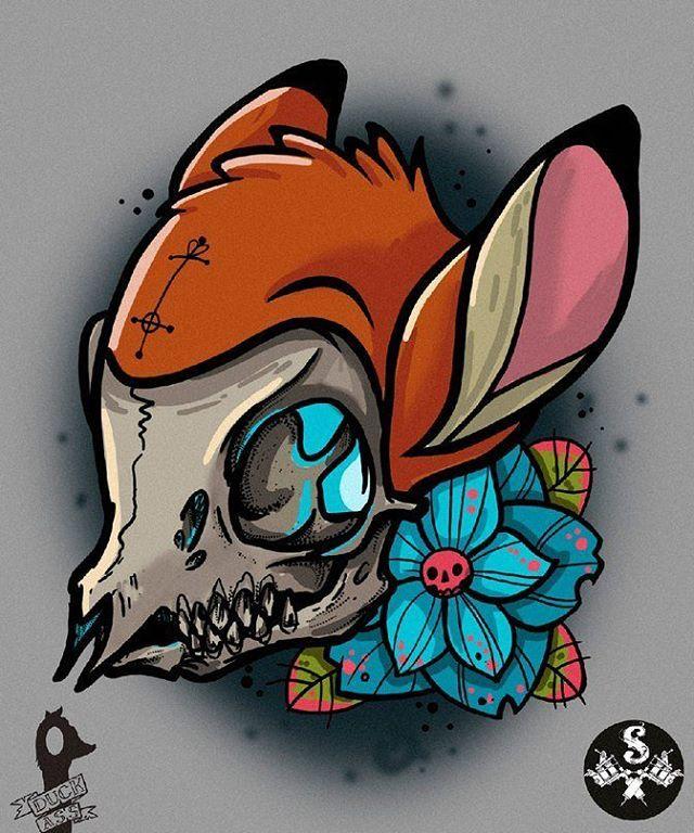bambi neotraditional tattoo sketch skull deer (@mmm_duck_ass)
