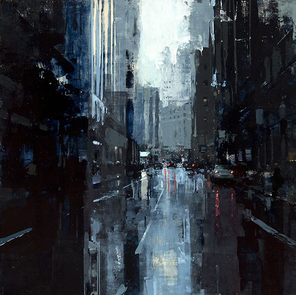 Jeremy Mann (American, b. 1979, Cleveland, Ohio, USA) - Blue City Storm, 2015 Paintings: Oil on Panel
