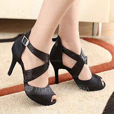 [AU$ 36.00] Women's Satin Heels Ballroom With Lace-up Dance Shoes (053103651)