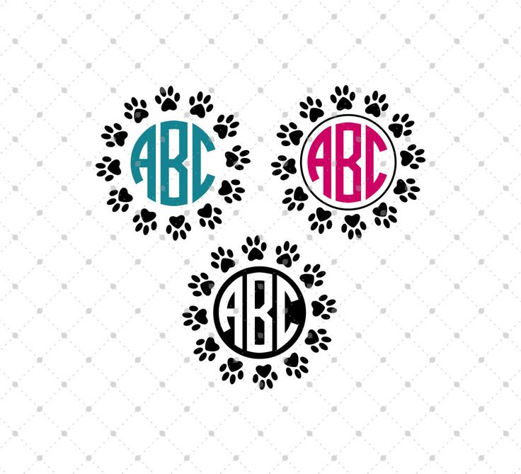 Paws Circle Monogram Frames SVG Cut Files for Cricut and Silhouette, Cricut explore cut files, Silhouette Cameo cut files