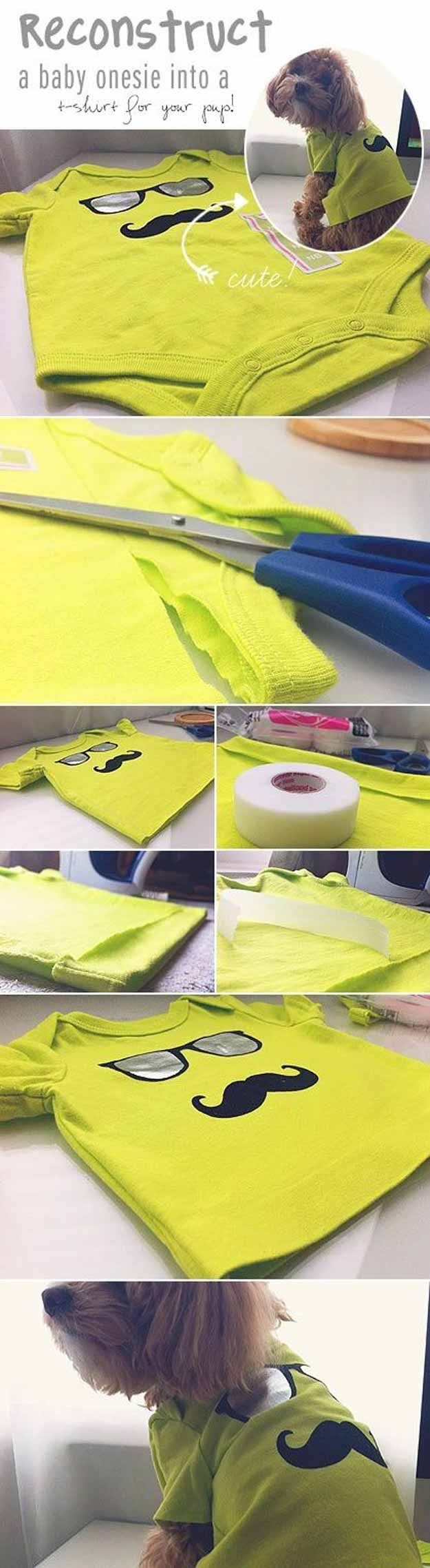 Baby Onesie to Dog Shirt - 12 DIY Dog Clothes and Coats | How To Make Cute Outfits For Your Furry Pet by DIY Ready at http://diyready.com/diy-dog-clothes-and-coats/