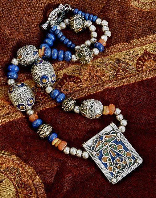 MOROCCAN Necklace - Tribal Necklace - Enamelled Pendant - Lapis Lazuli Gemstones - Berber Silver Necklace.