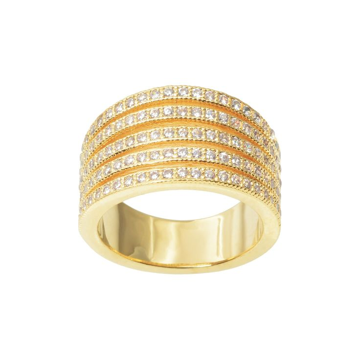 1 1/6 CT. T.W. Journee Collection Round Cut CZ Pave Set Split Strand Ring in Brass - Gold (8), Women's