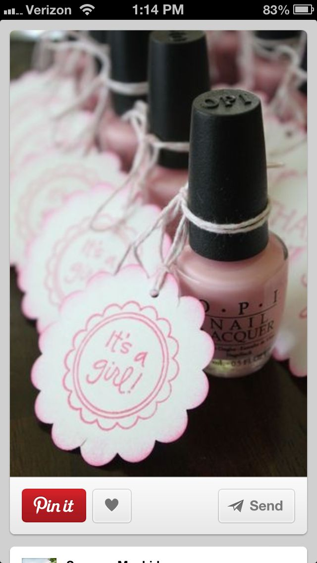 Could get different shades of pink and purple nail polish as party favors. Guests can pick a shade that suites them.