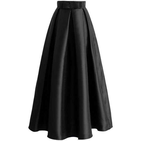 Chicwish Bowknot Pleated Full Maxi Skirt in Black (£31) ❤ liked on Polyvore featuring skirts, black, bottoms, bow skirt, a line maxi skirt, pleated skirt, embellished skirt and long maxi skirts