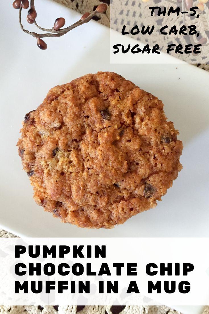 Pumpkin Chocolate Chip Muffin in a Mug {THM-S, Low Carb, Sugar Free}