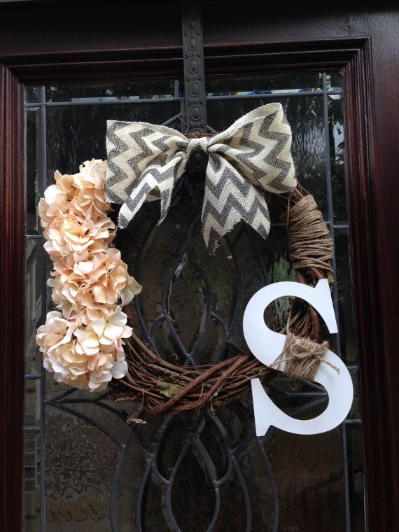 """18"""" Grapevine Monogrammed Wreath with Hydrangeas, Burlap Bow, and Jute"""