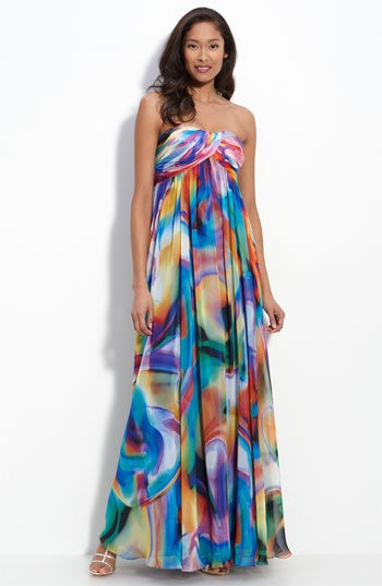 La Femme Strapless Print Chiffon Gown available at #Nordstrom