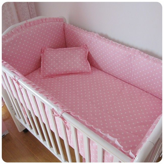 Promotion! 6PCS Bear baby bedding set cotton curtain crib bumper baby cot sets baby bed (bumper+sheet+pillow cover)