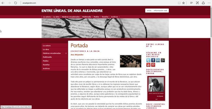 """Edición nº 8 de """"Entre Líneas"""", web personal de Ana Alejandre con información de su autora, obra, vídeos, etc.,"""