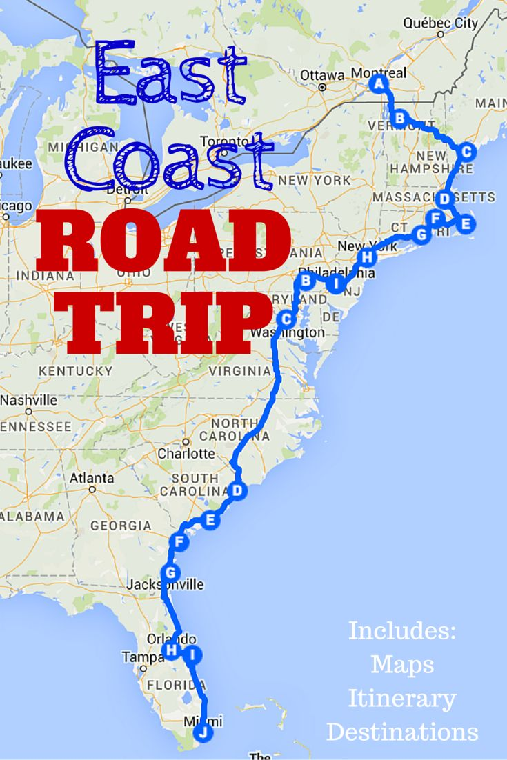 Take an exciting trip down the East Coast and hit all these great destinations!