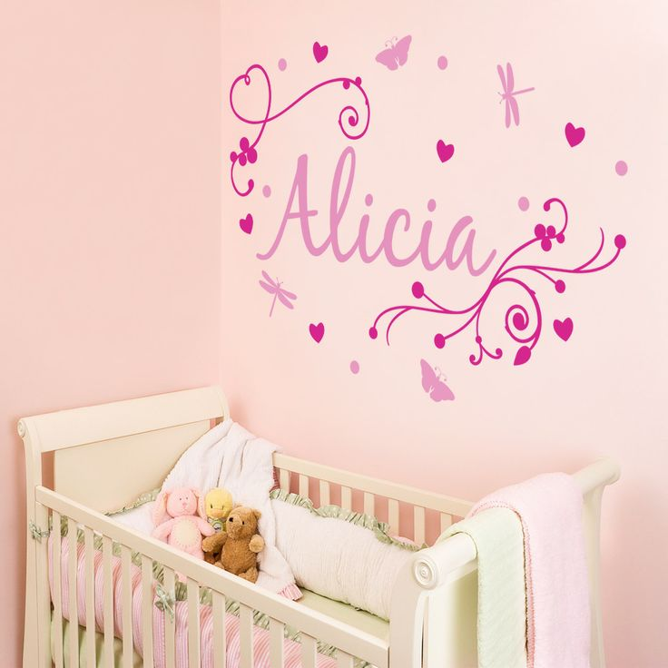 Girls Wall Decals | Magenta And Pink Girlu0027s Swirly Personalised Name In A  Girlu0027s Bedroom
