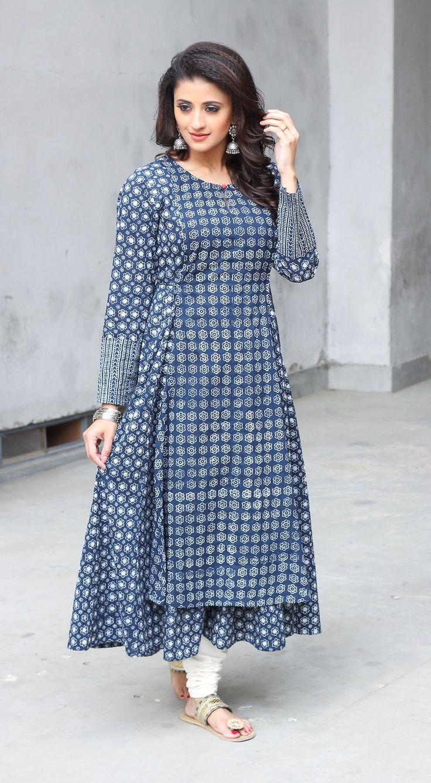 #indigo #layered #kurta #anarkali #blockprint #fashion #womenswear #classic #summerwear #blue #white #cotton #Fabindia