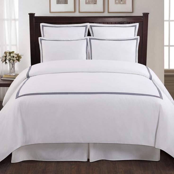 Echelon Home Three Line Hotel Collection Cotton Sateen 3-piece Full/ Queen Size Duvet Cover Set in