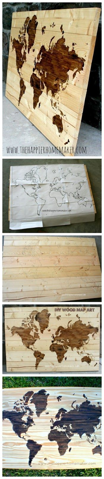 DIY Wooden World Map Art  Yes this  Dark stain outside, leave land mass original wood color