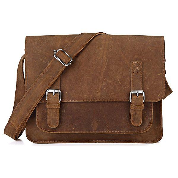 Vintage Crazy Horse Leather Messenger Bag Satchel