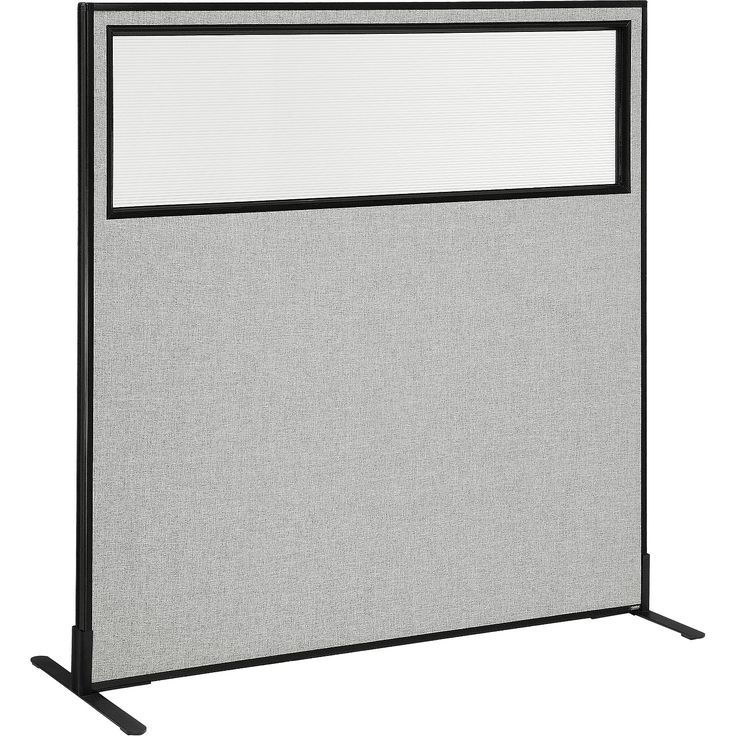 "Office Partitions & Room Dividers | Office Partition Panels | Interion™ Freestanding Office Cubicle Panel with Partial Window, 60-1/4""W x 60""H, Gray 