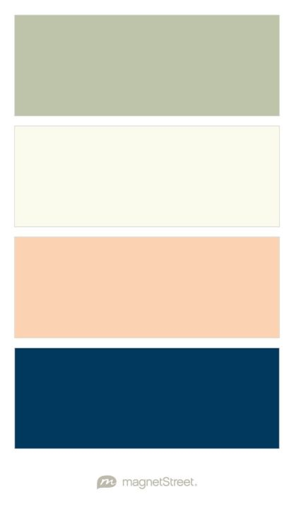 Sage, Ivory, Peach, and Navy Wedding Color Palette - custom color palette created at MagnetStreet.com
