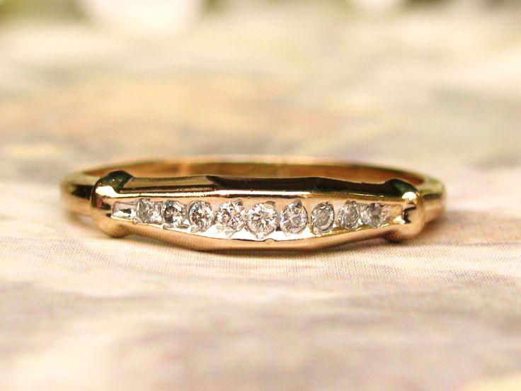 Vintage Diamond Wedding Band Unique Angular Shaped 0.21ctw Diamond Wedding Ring Anniversary Ring 14K Gold Diamond Stacking Ring Size 8.5 by LadyRoseVintageJewel on Etsy https://www.etsy.com/listing/495140687/vintage-diamond-wedding-band-unique