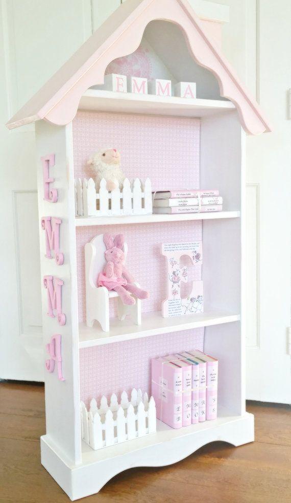 Charming cottage dollhouse bookcase, Custom children's bookcase, Nursery bookcase, Girl's bookcase, Shabby White Bookshelf, White Bookcase